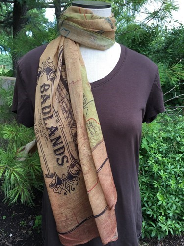 Badlands vintage Map scarf